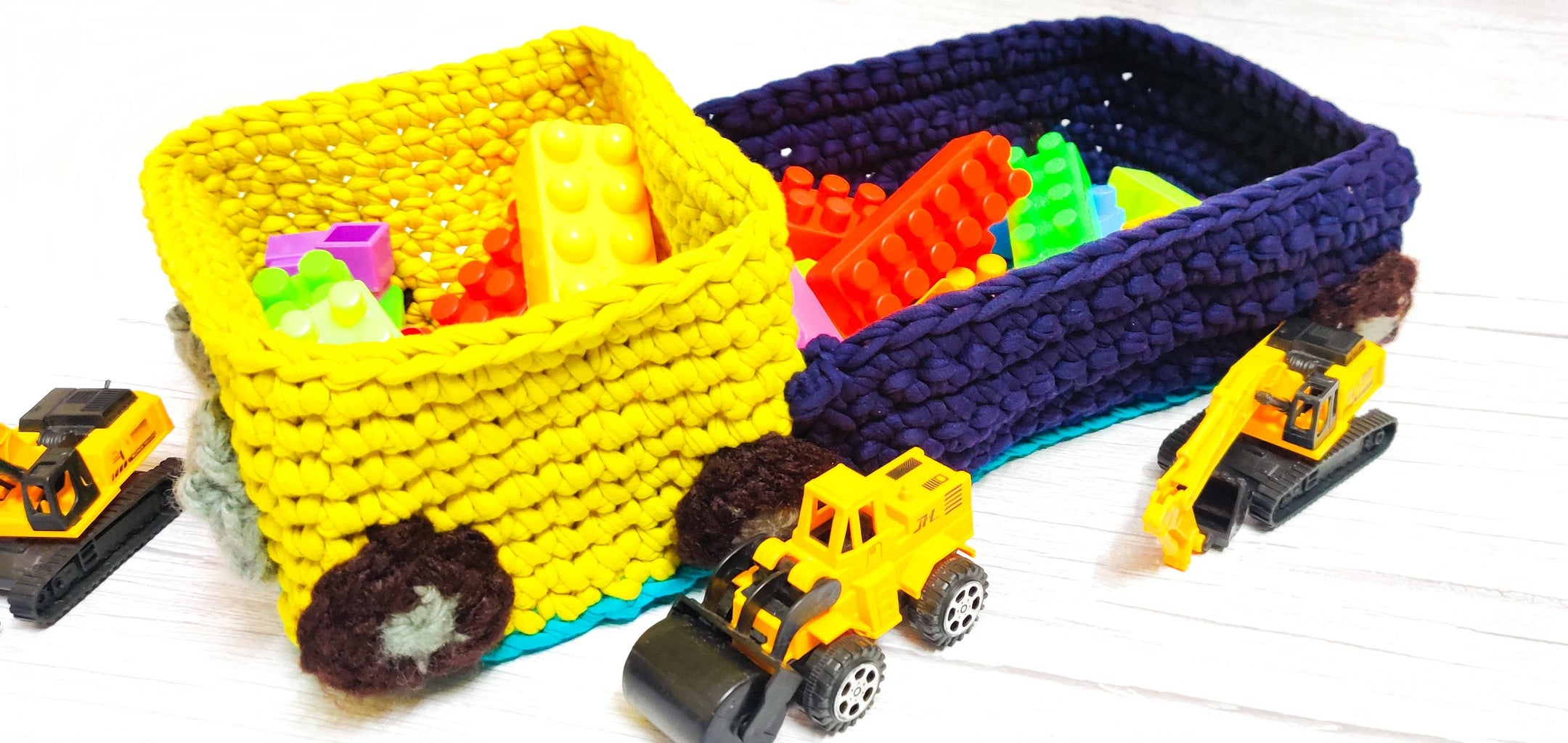 Toy Truck Crochet Storage Basket With T-shirt Yarn