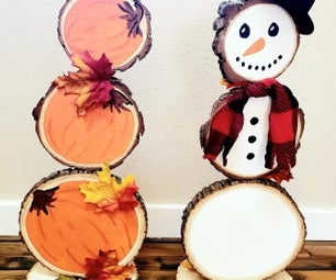 Dual-Sided Pumpkin/Snowman Decoration