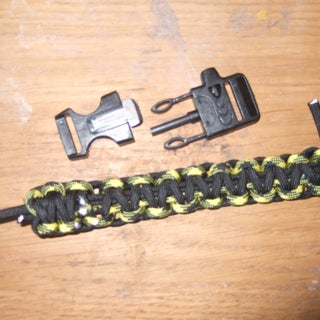 Failed Attempt- Ladder Rack Paracord Bracelet With Fire Starter and Fishing Kit.