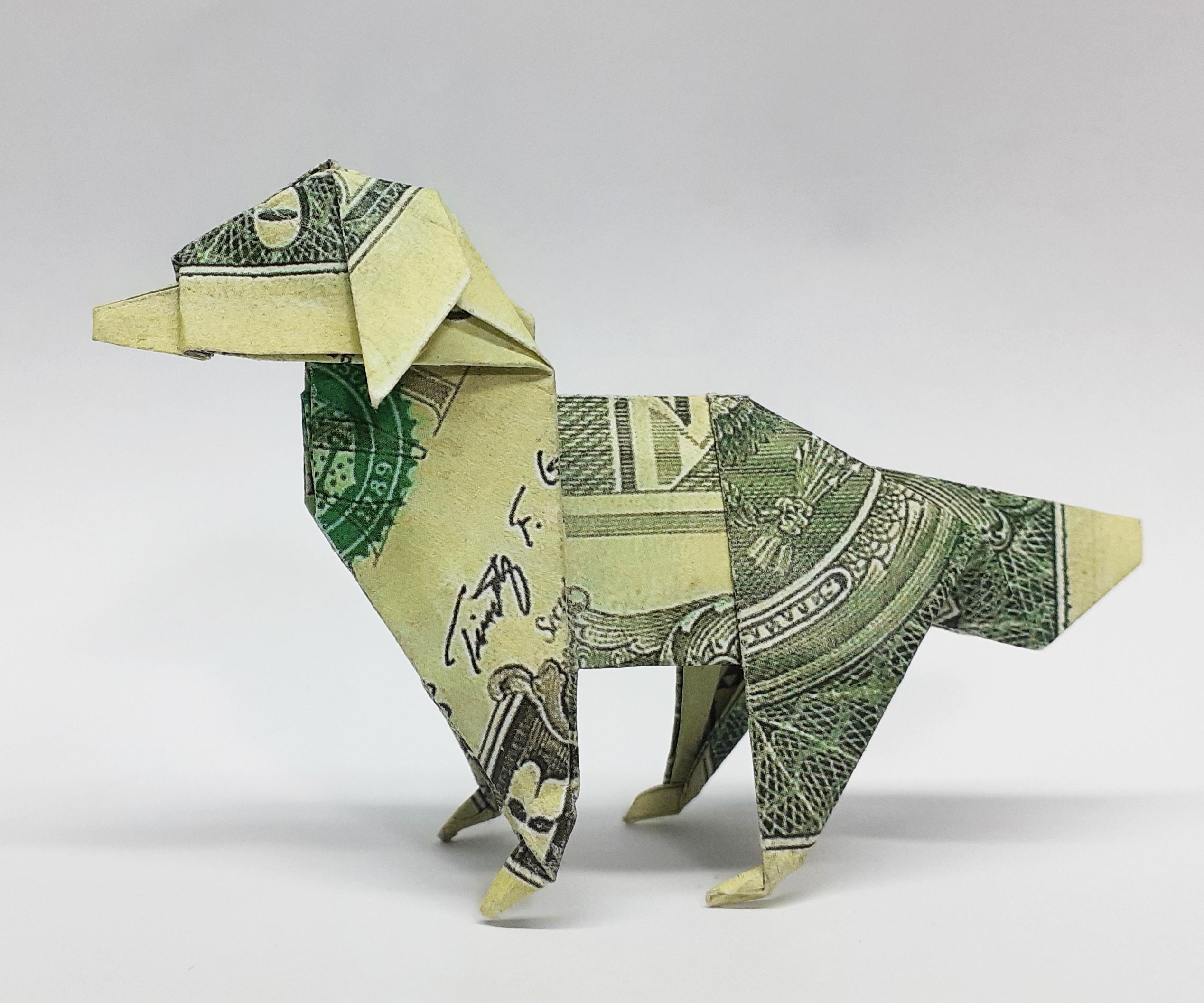 DOLLAR MONEY ORIGAMI DOG
