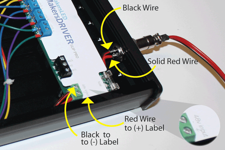 Land the 48V DC Power Wires Onto the MakersDRIVER 5UP PRO Green Terminal Block As Shown in the Photo.