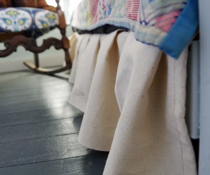 No-sew Bed Skirt With Canvas Drop Cloths!