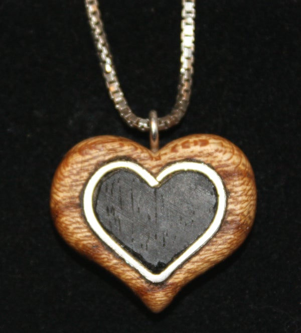Wooden Heart Pendant With Inlaid Silver