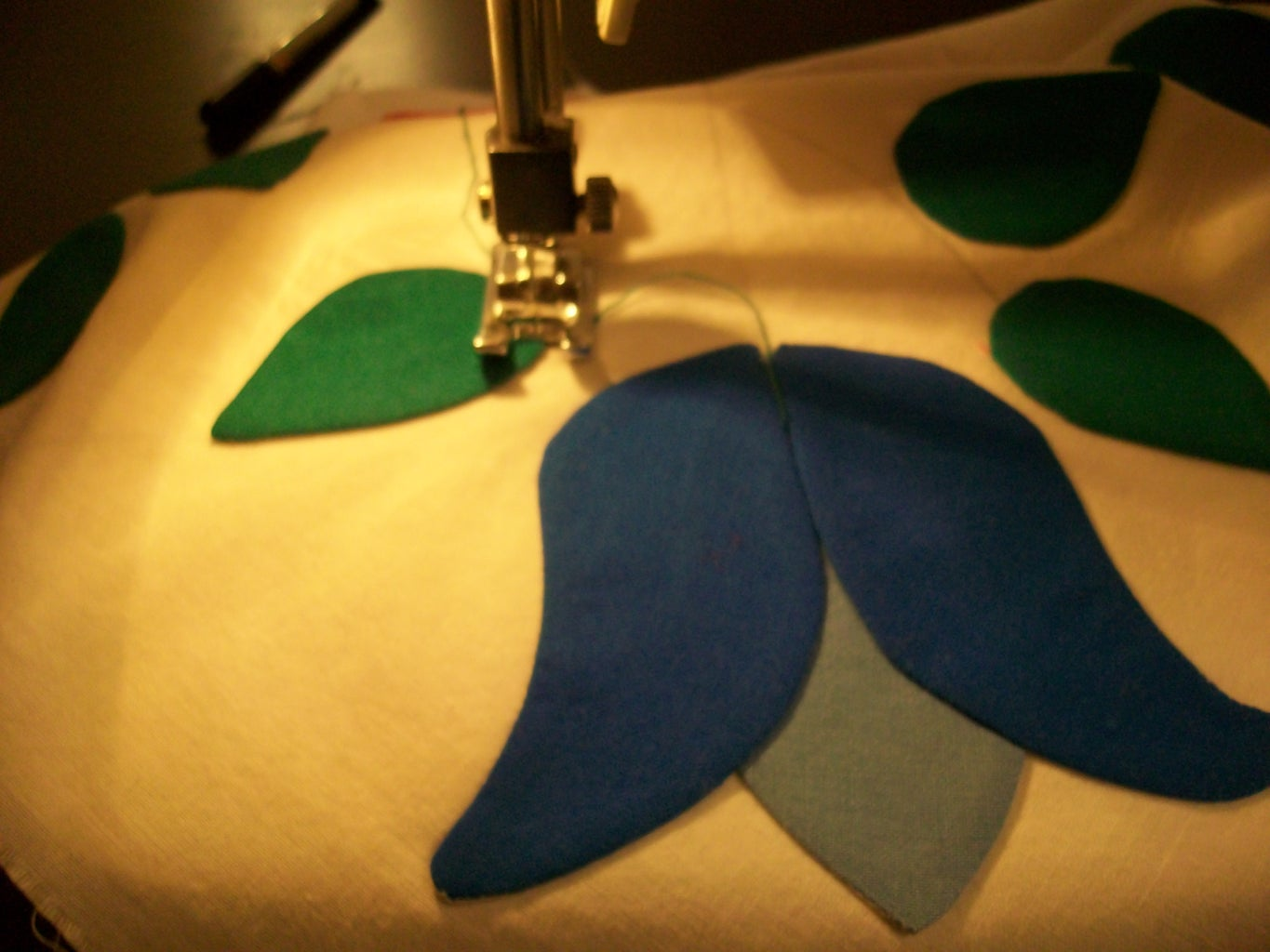Step 7 - Draw the Guidelines for the Vines, Sew the Vines, and Overstitch