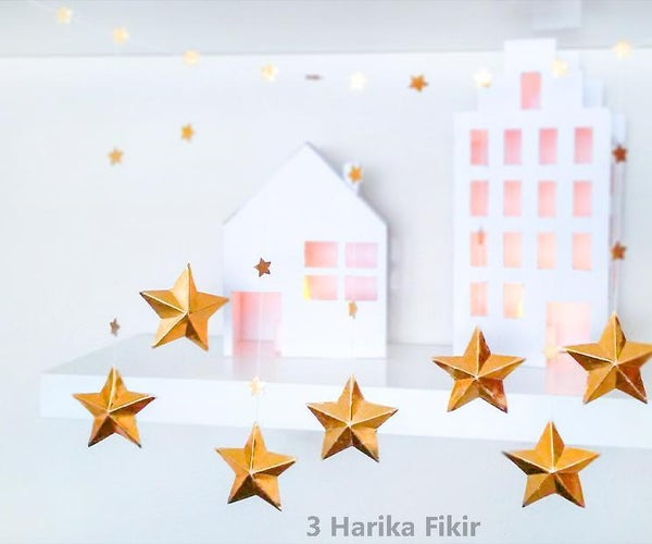 Diy 3D Gold Star Garland With Paper