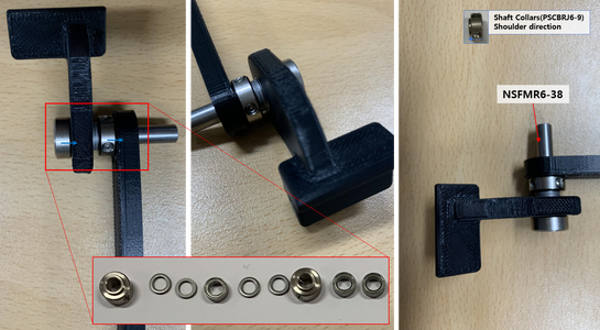 While Paying Attention the Sorted Order and the Shaft Collars Directions, Assemble a Rotation Axis for a Holder a and a Link 200 B With a Shaft (NSFMR6-38), Shaft Collars (PSCBRJ6-9), Bearings and Spacers (MSRB6-1.0).