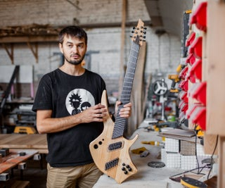 Multiscale Hollowbody Recycled Wood Guitar With Composite Fretboard