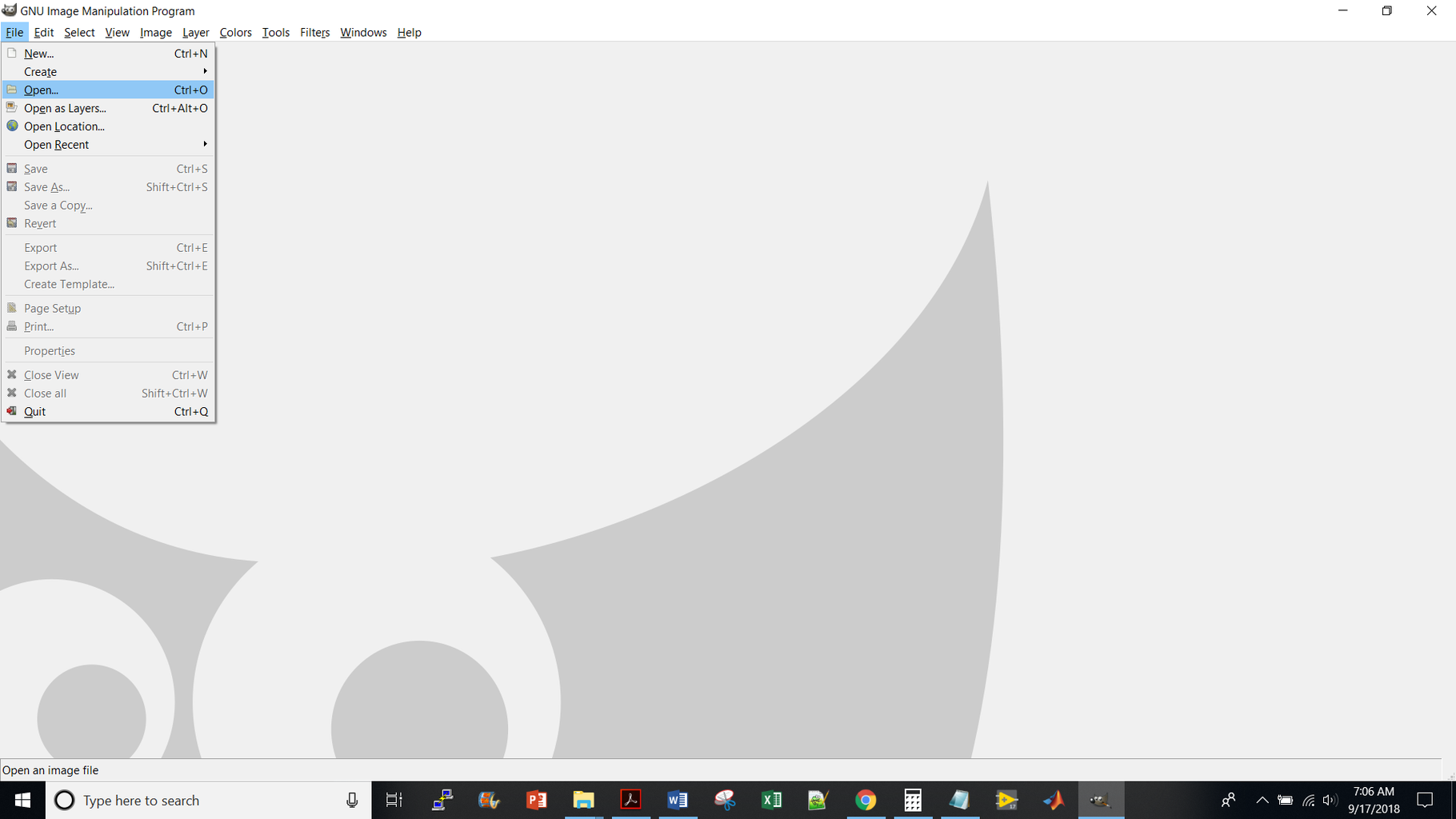 Open GIMP --> File --> Open --> Choose Your Image