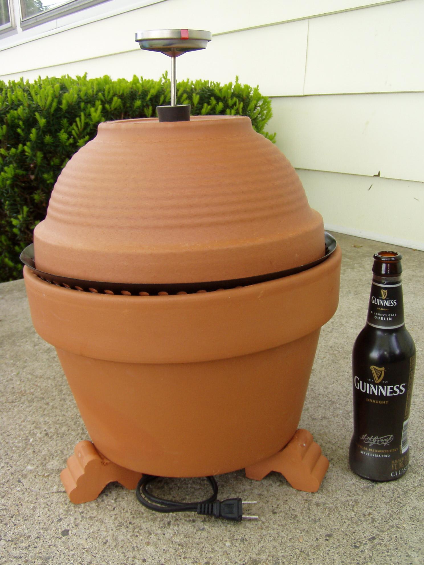 a little brown egg in Maine: terra cotta smoker