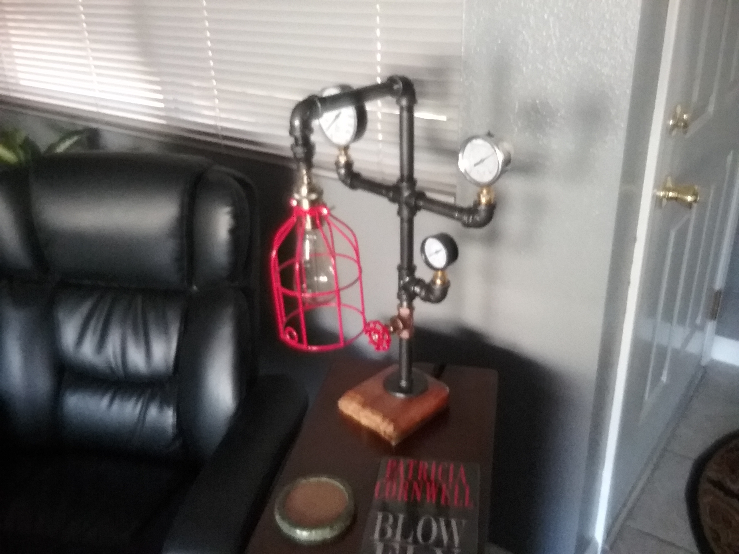 Iron Pipe Lamp With Cast Concrete Base