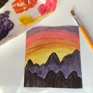 Paint a Mountain Sunset (for Beginners)