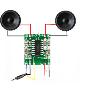 Connecting Speaker, Audio Amplifier and Bluetooth Module: