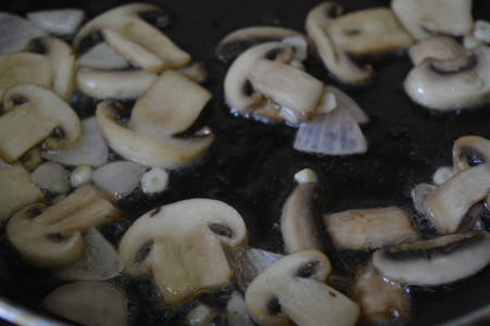 Heat Oil in a Pan and Saute, the Garlic, Onion, and Mushrooms With Little Salt, Until Mushrooms Turn to a Light Brown Color.