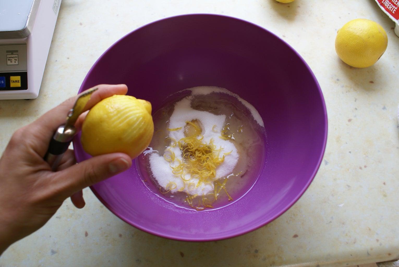 Mix Eggs, Sugar and Lemon Zests