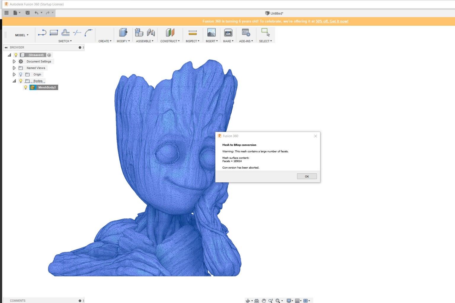 Fusion 360 - Edit an Stl File