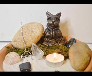 DIY Mini Meditating Cat Zen Garden