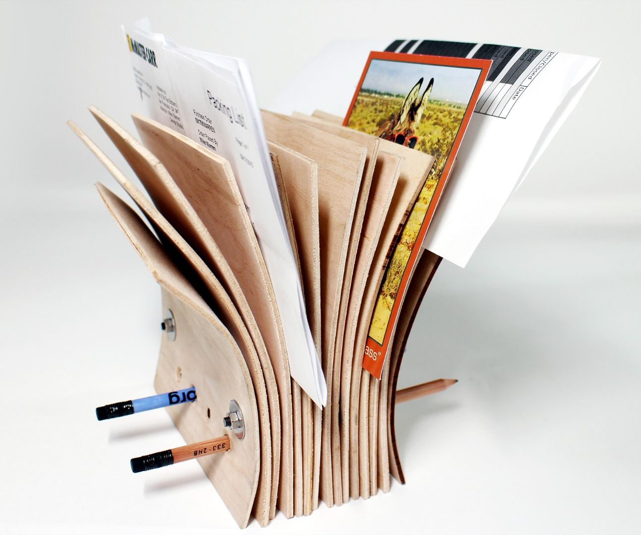 Bent plywood paper holder