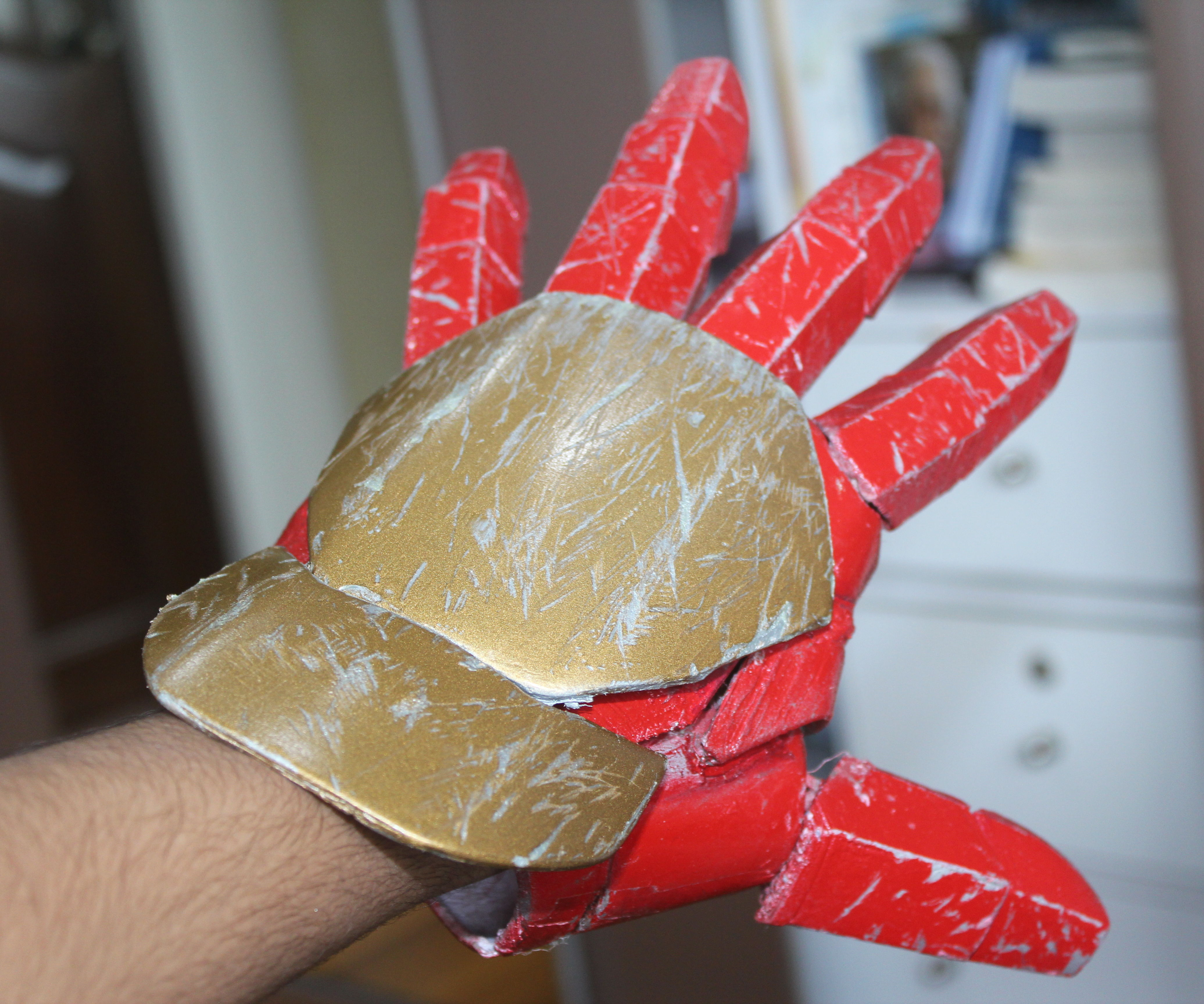 Realistic MK 42 Iron man Glove 3D printed with weathering