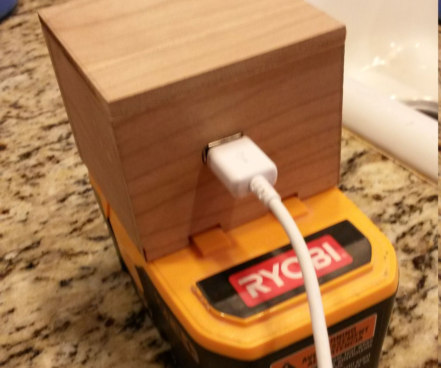 Cordless tool battery to USB charger