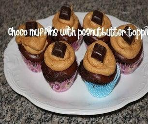 Choco松饼与花生刺激顶部食谱