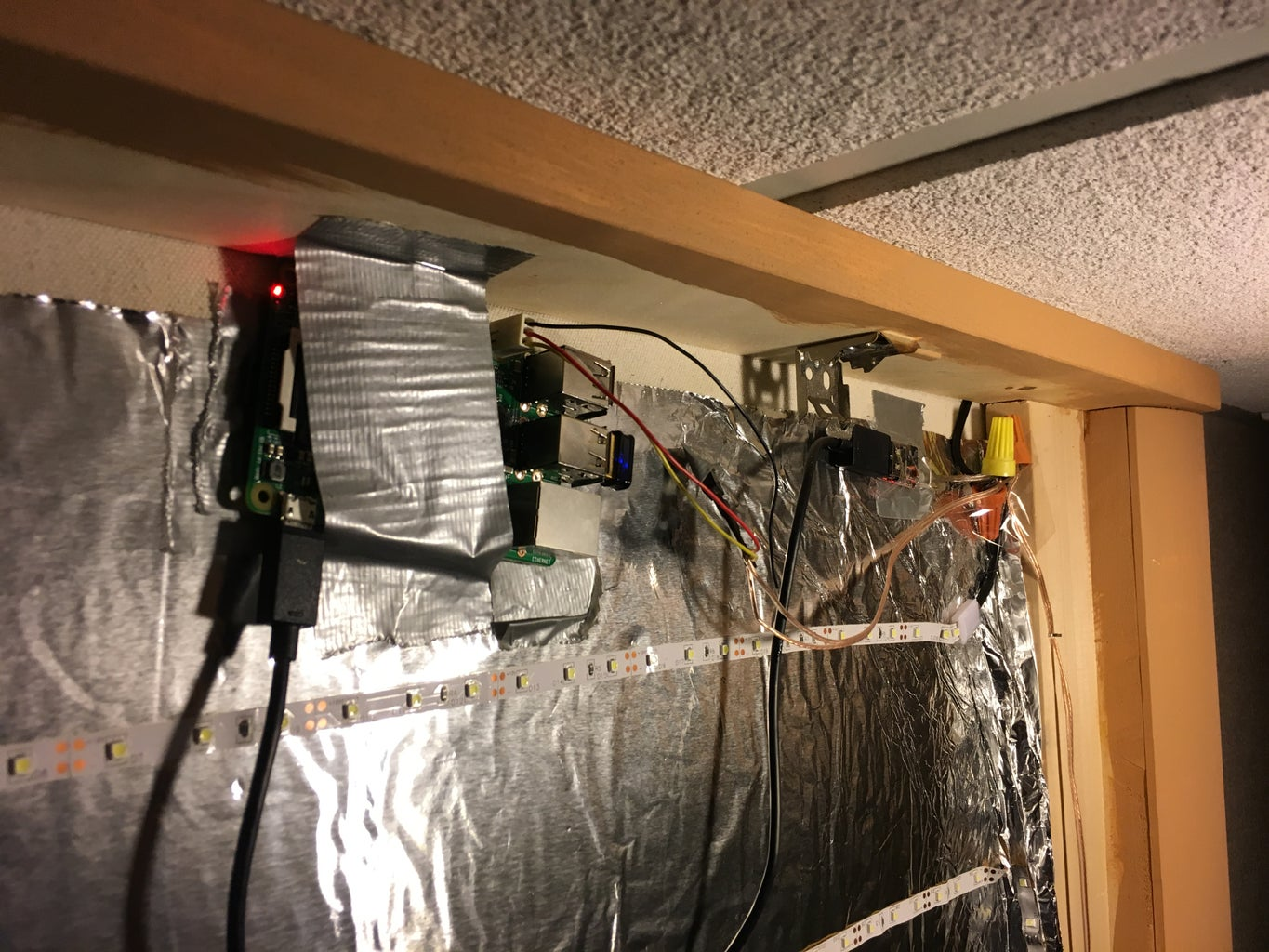 Attach and Wire the LED Strip Lights, Raspberry Pi and MOSFET