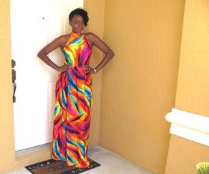 DIY:Vibrant Backless Maxi Dress With Slit