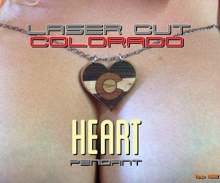 Laser Cut Colorado Heart Pendant