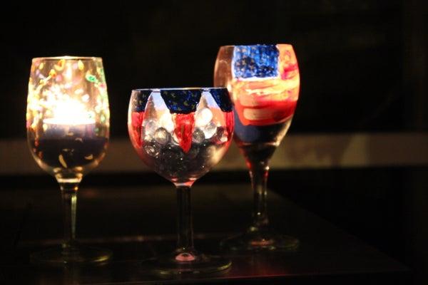 4th of July Luminous Wine Glasses