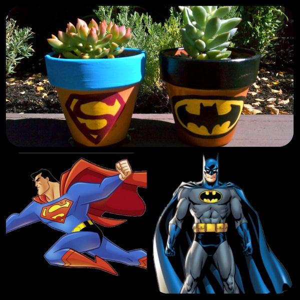 Superhero Logo Painted Pots