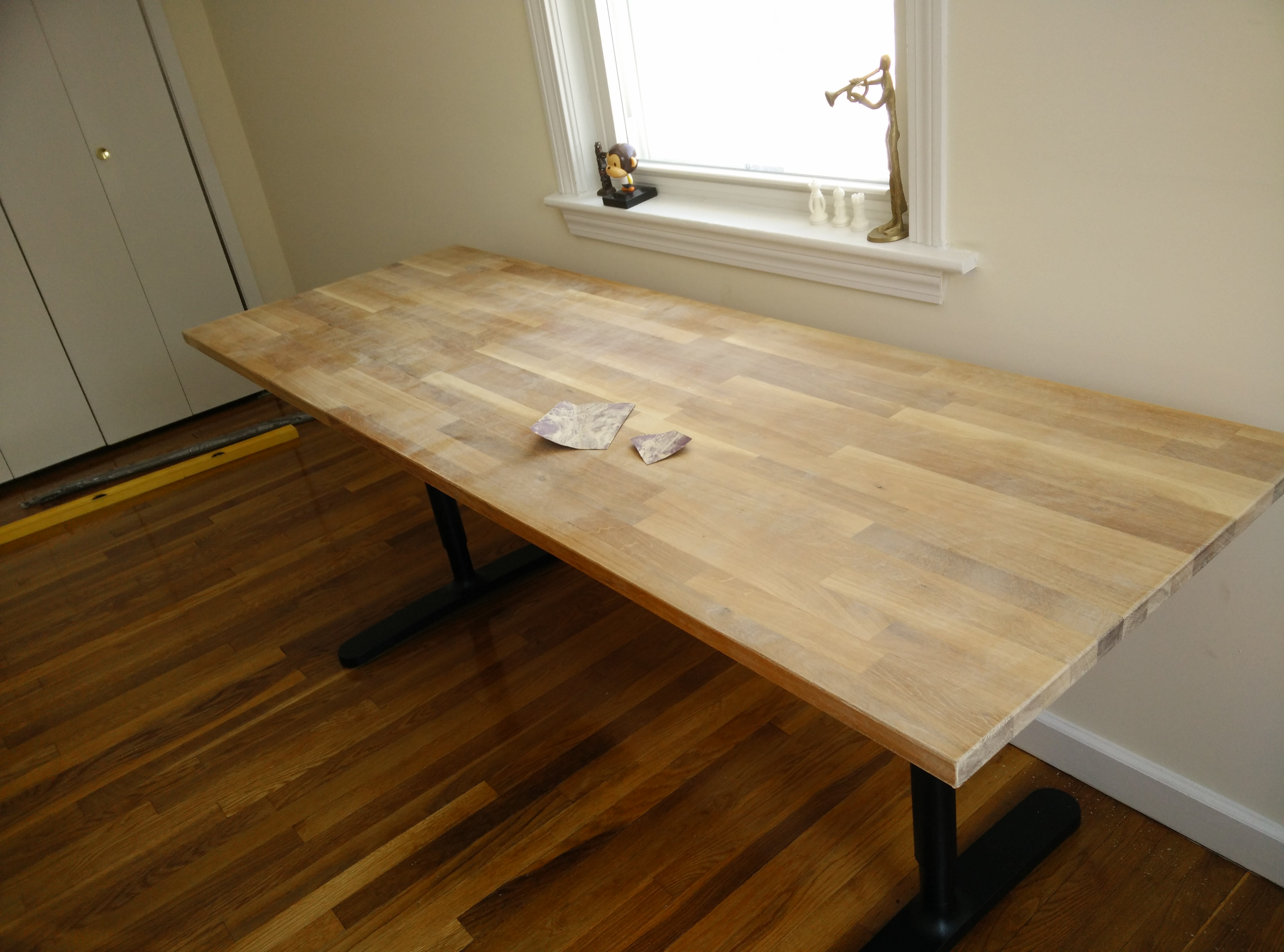 Butcher Block Countertop Table Ikea Hack 4 Steps With Pictures Instructables