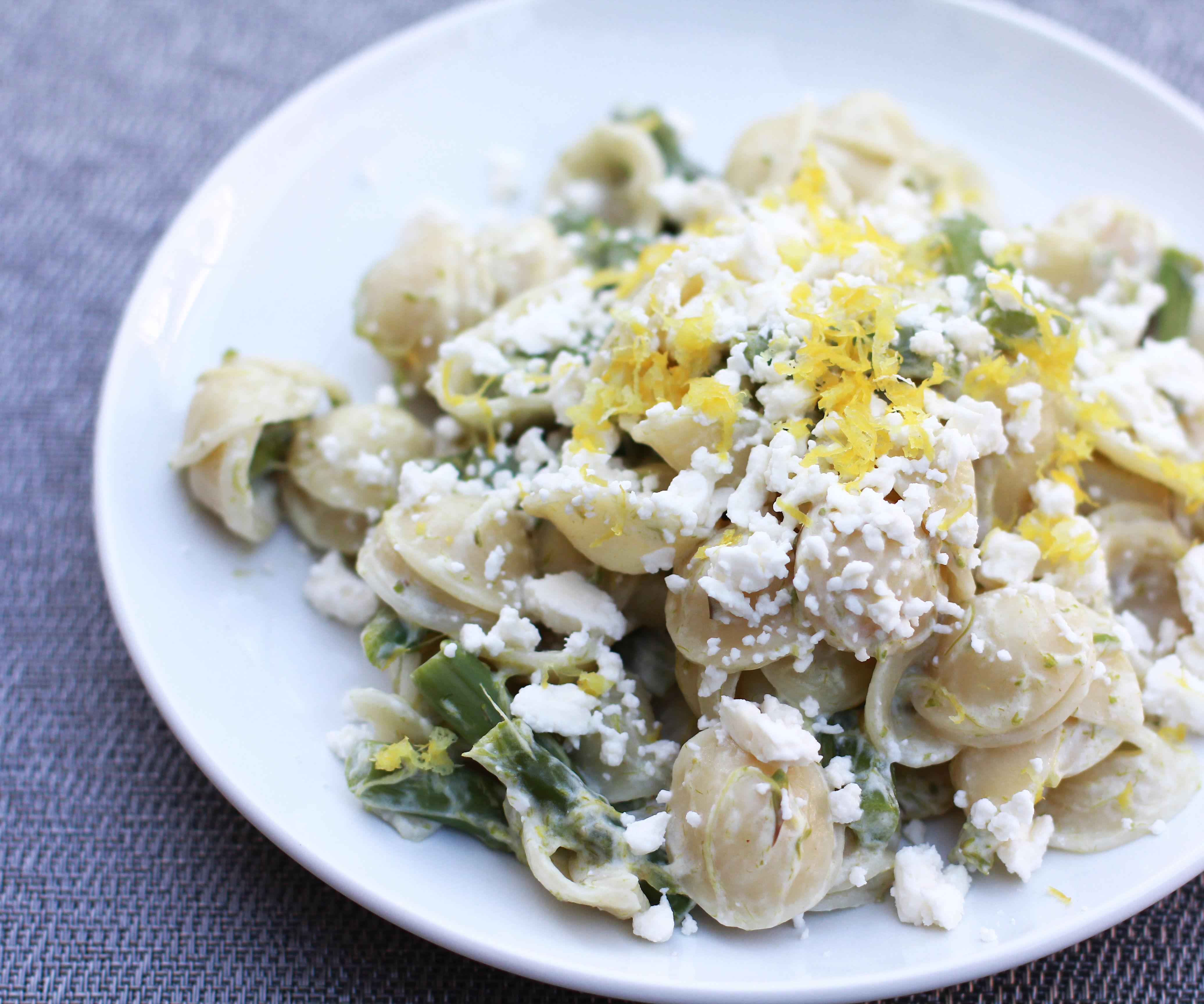 Pasta with Asparagus, Lemon, and Feta