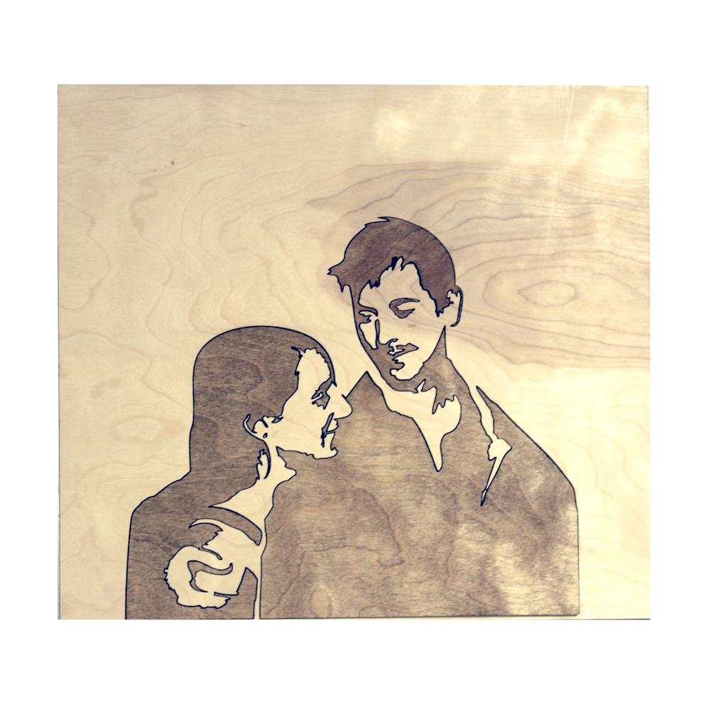 Woodcut Silhouette Portrait