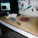 using wood laminate flooring for a work bench top