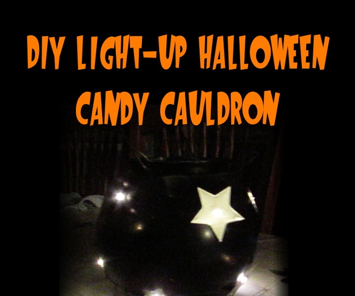 DIY Light-up Halloween Candy Cauldron