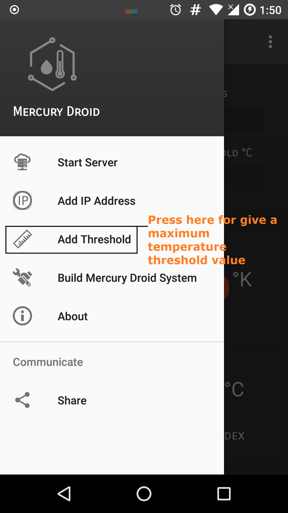 Mercury Droid Android Application Settings