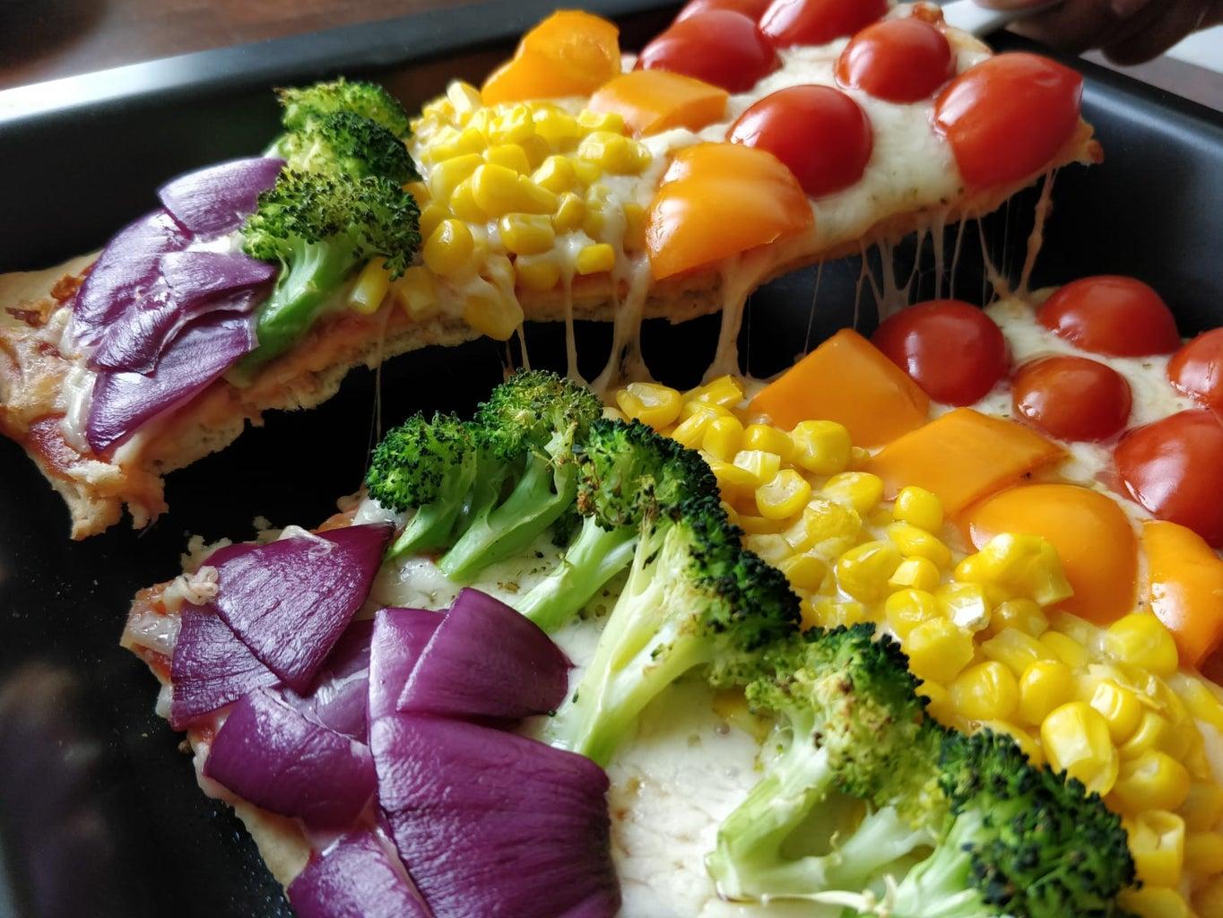 Rainbow Veggie Flatbread Pizza