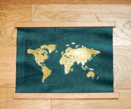 DIY Gold Foil Map Art   How to Apply Foil to Velvet Fabric