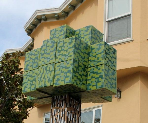 Cardboard 8-bit Tree - in the MineCraft Style