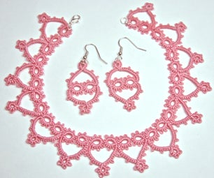 Tatted Princess Necklace and Earring Set