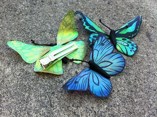 Iridescent Butterfly Clips