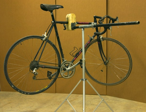 Portable Bike Repair Stand From Pony Clamp and Tripod