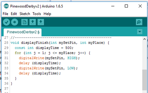 Code to Display Finish Place