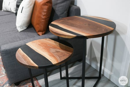 Resin & Wood Nesting Side Tables