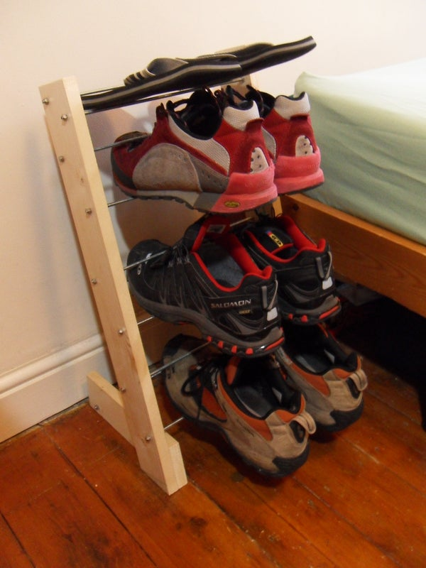 Shoe Tower - a Free Standing, Multi-tier Floating Shoe Rack
