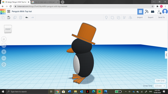 Once Grouped, Move the Hat to the Top of the Penguin. If You Like You Can Rotate the Angle of the Hat to Make It Align on Top of the Penguins Head at a Slight Slope.