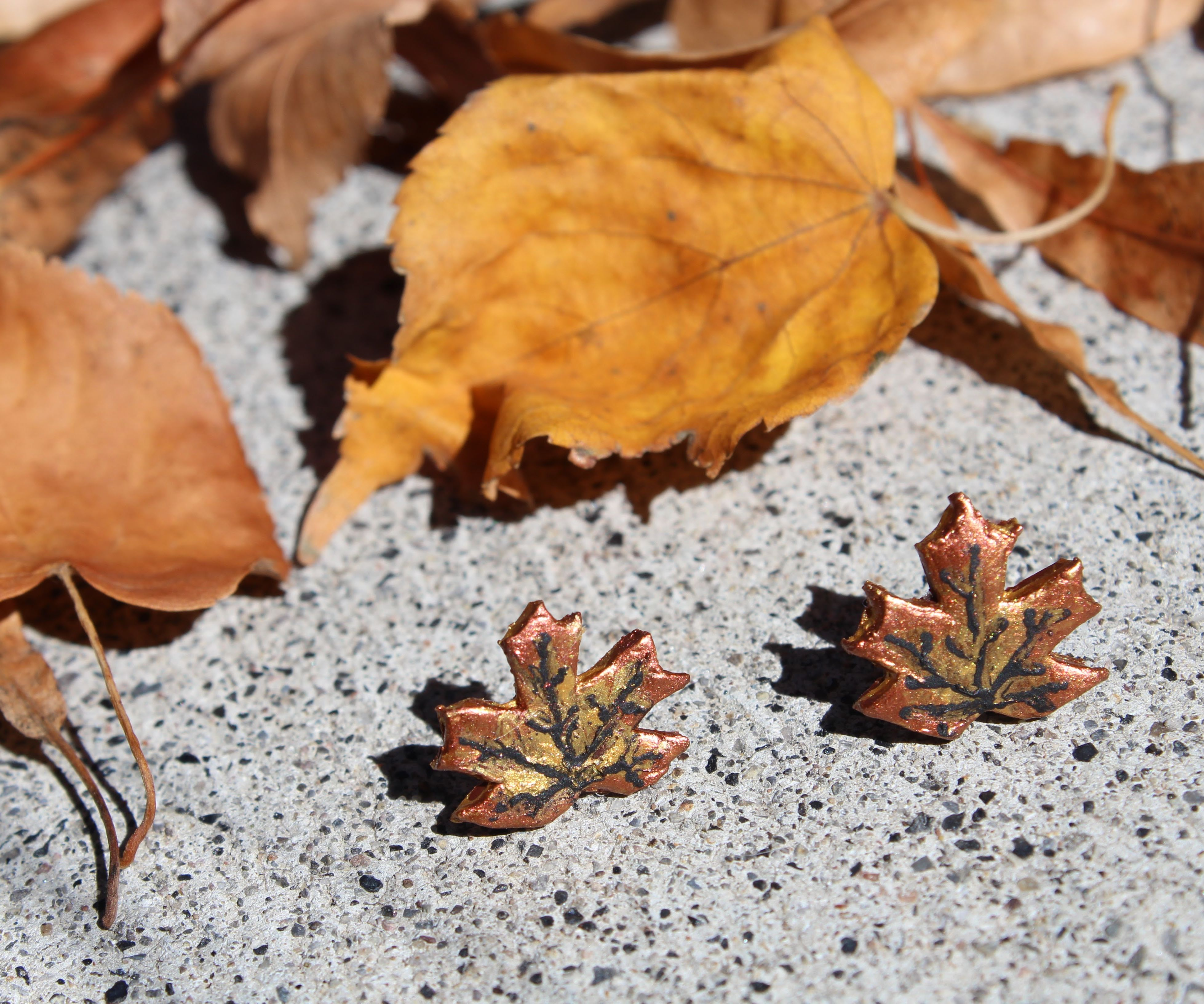 Polymer Clay Maple Leaf Earrings