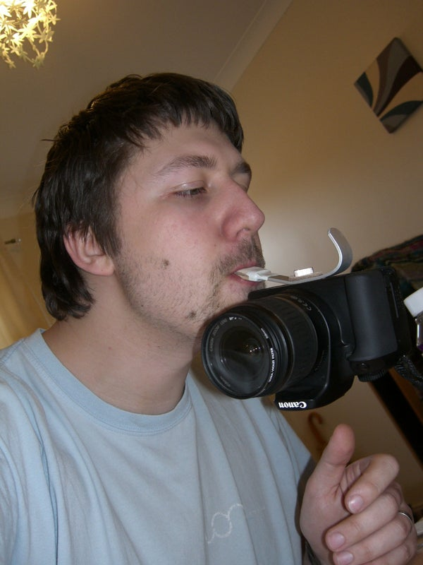 A Modification to Bertus52x11's Left Handed DSLR Holder. (with Added Mouth Grip)