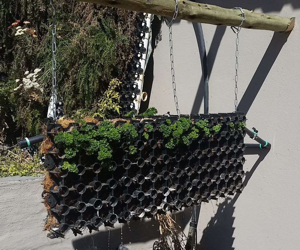 Hanging hydroponic waterfall filter garden