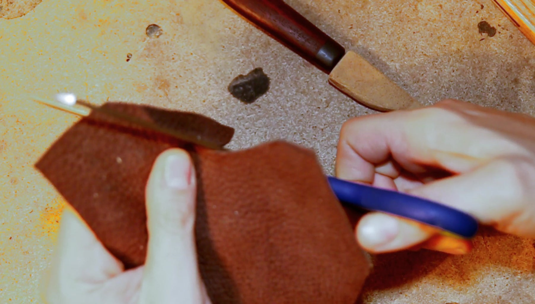 Cutting the Front Buffalo Leather