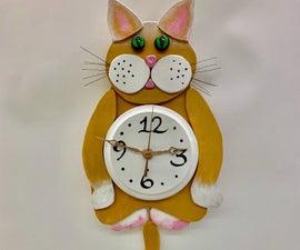 Cat Clock W/fish